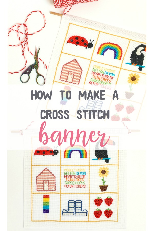 In this post, I show you how to make an easy DIY cross stitch banner you can whip up with any finished design. I use my Summer SAL pattern. A step-by-step tutorial with photos. #diycrafts #crossstitch #hannahhandmakes