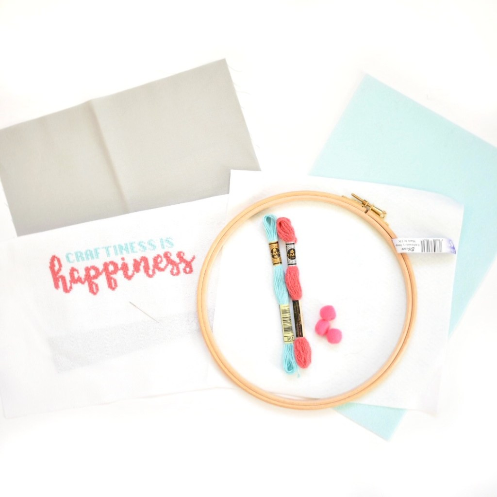 What you need to make a cross stitch storage hoop