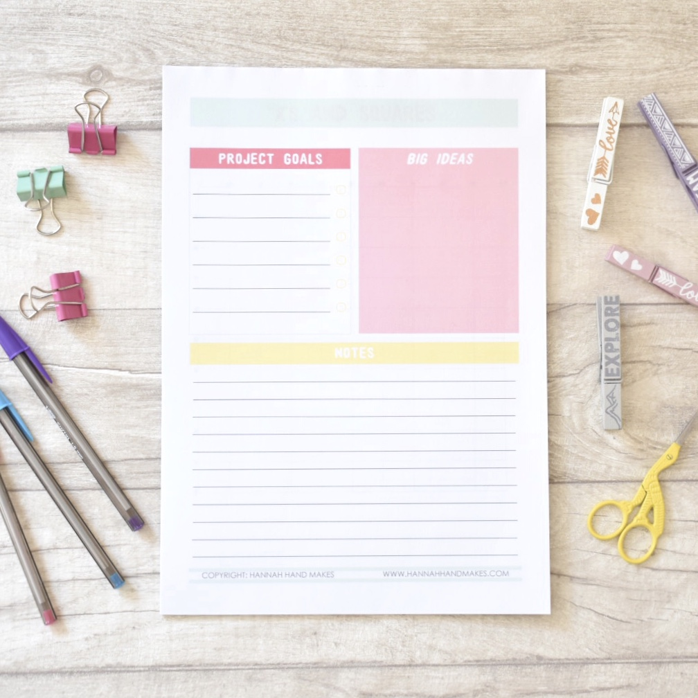 cross stitch project planning pad