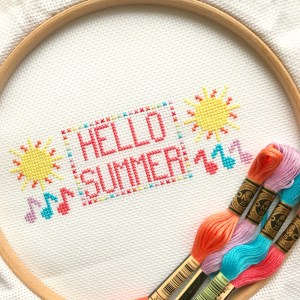 hello summer cross stitch hoop