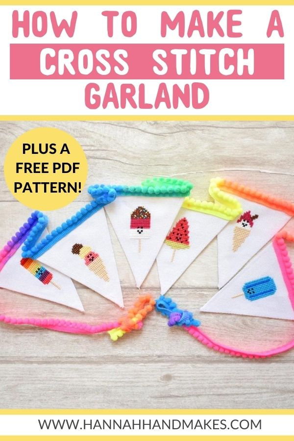 How to Make a Cross Stitch Garland by Hannah Hand Makes.