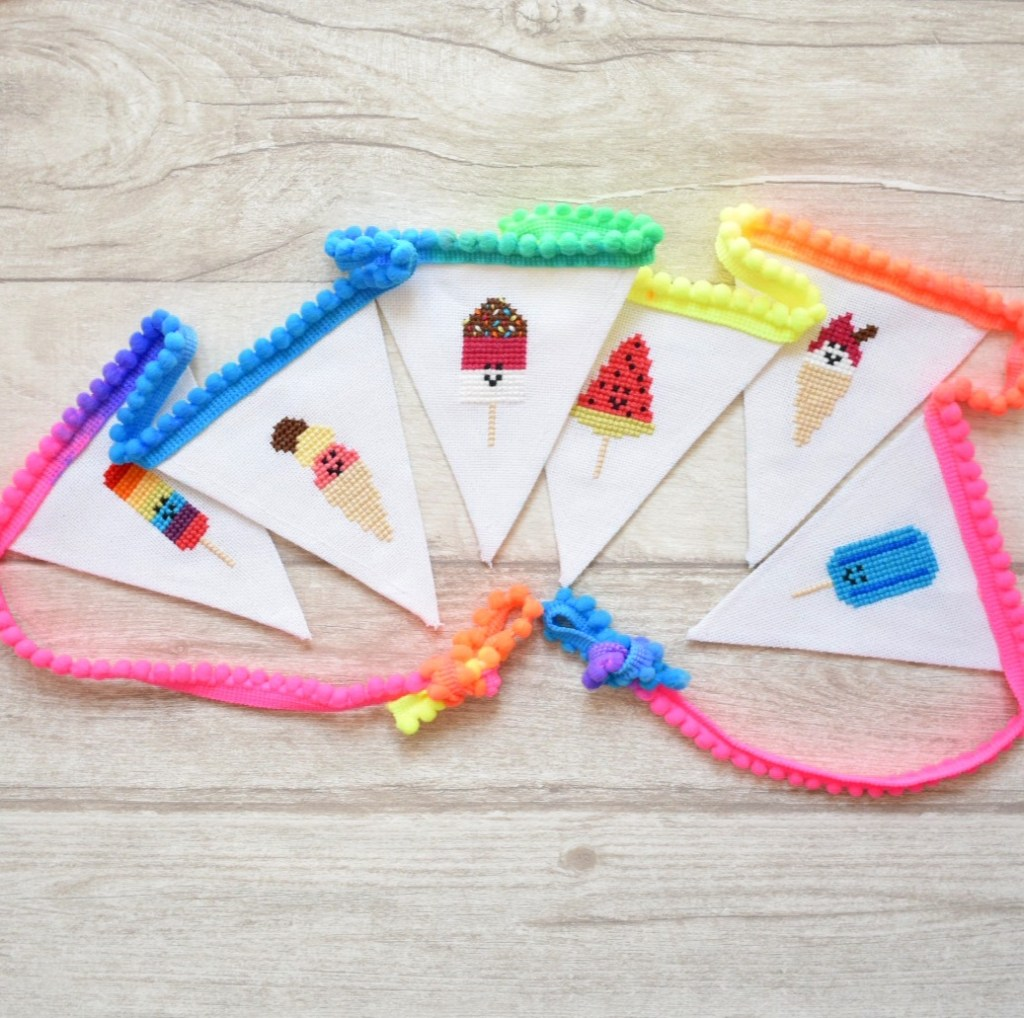 finsihed cross stitch ice cream garland