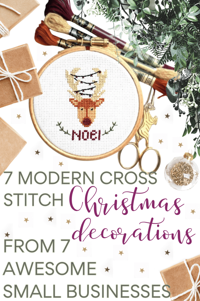 Pin for 7 modern cross stitch christmas decorations from 7 awesome small businesses