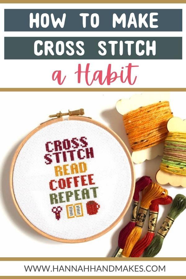 Making Cross Stitch a Habit Pin