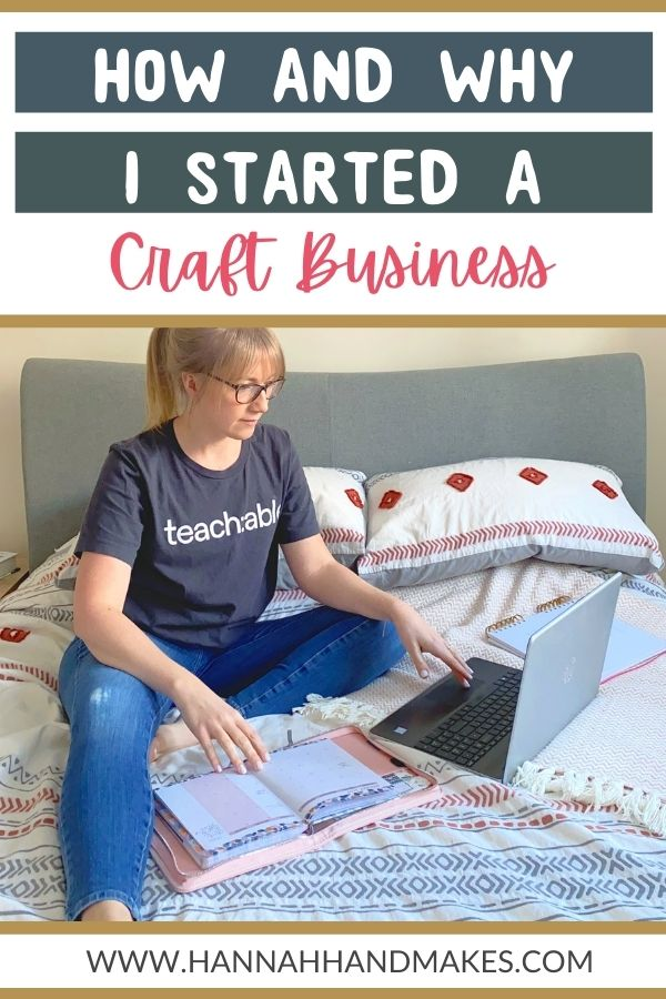How I Started a Business (and Why) pin image with girl on bed and laptop on bed