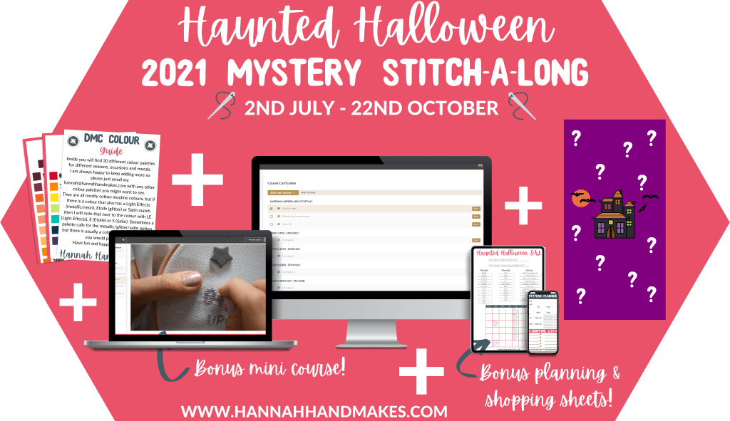 Haunted Halloween 2021 Stitch Along with mock up photos of PC, laptop, phone and tablet
