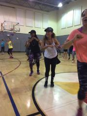 Zumba dancers in action. The dancers are synchronized as they move around on the dance floor. Saturday, February 18, 2017.