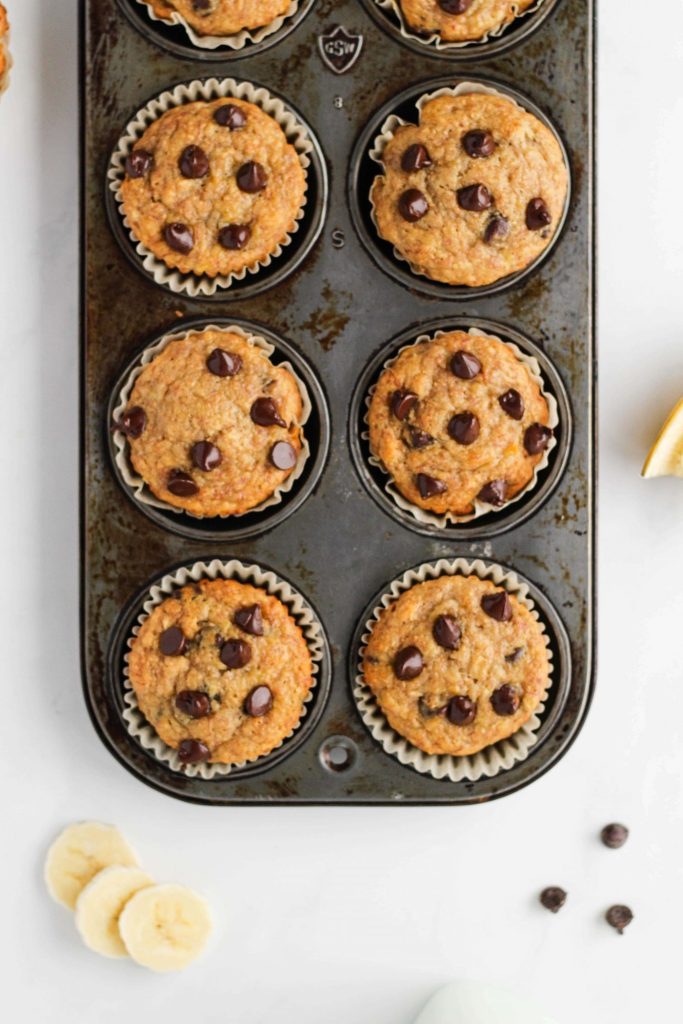 These easy Whole Wheat Chocolate Chip Muffins are a healthy, lightly sweetened take on your traditional Banana Chocolate Chip Muffin recipe. The whole family will love them, I know mine does!