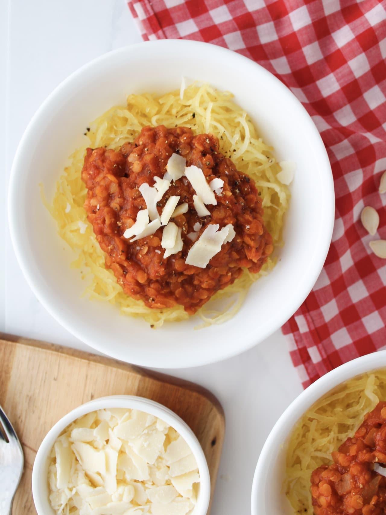 "Spaghetti Squash Lentil ""Bolognese"""