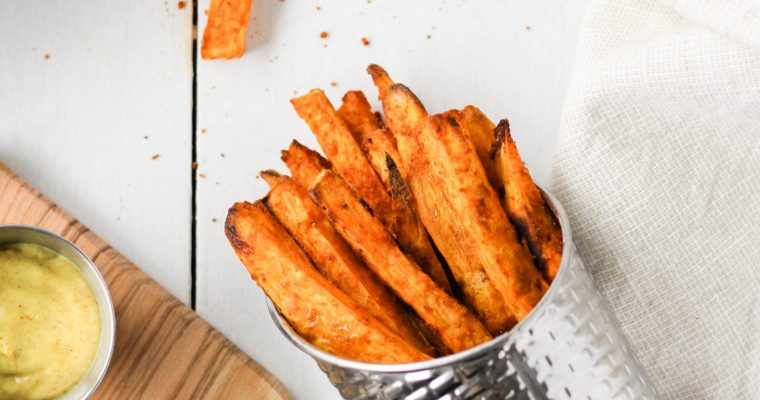 Baked Sweet Potato Fries (with Homemade Curry Mayo)