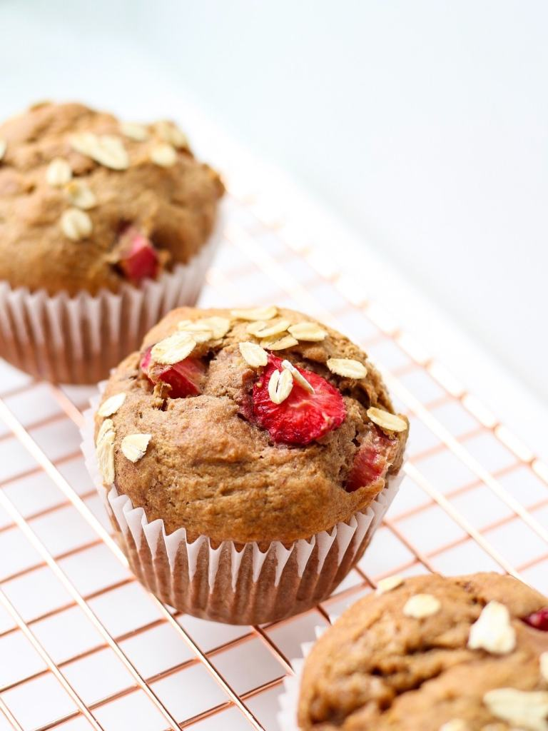 These healthy Strawberry Rhubarb Muffins are made with nourishing ingredients to fuel your summer fun!