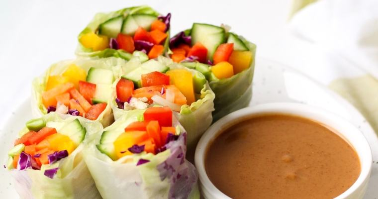 Fresh Rainbow Spring Rolls with Peanut Dipping Sauce
