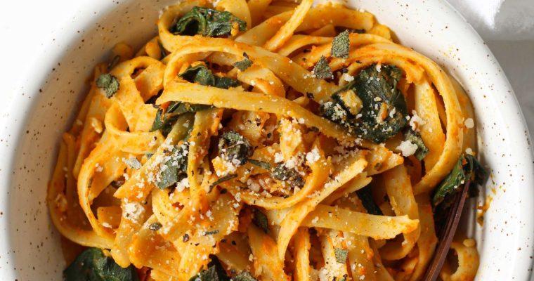 Healthy Pumpkin Pasta with Spinach