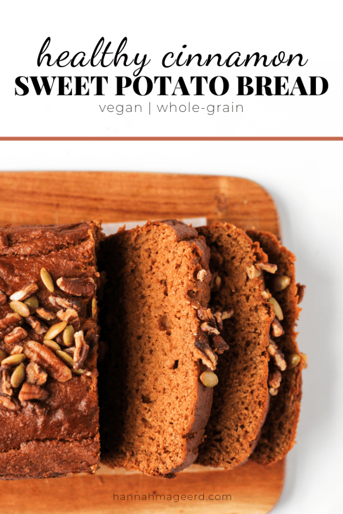 This healthy sweet potato bread is the perfect fall baked good. Spiced with cinnamon, ginger, and nutmeg and made with nutritious ingredients. Vegan, too!