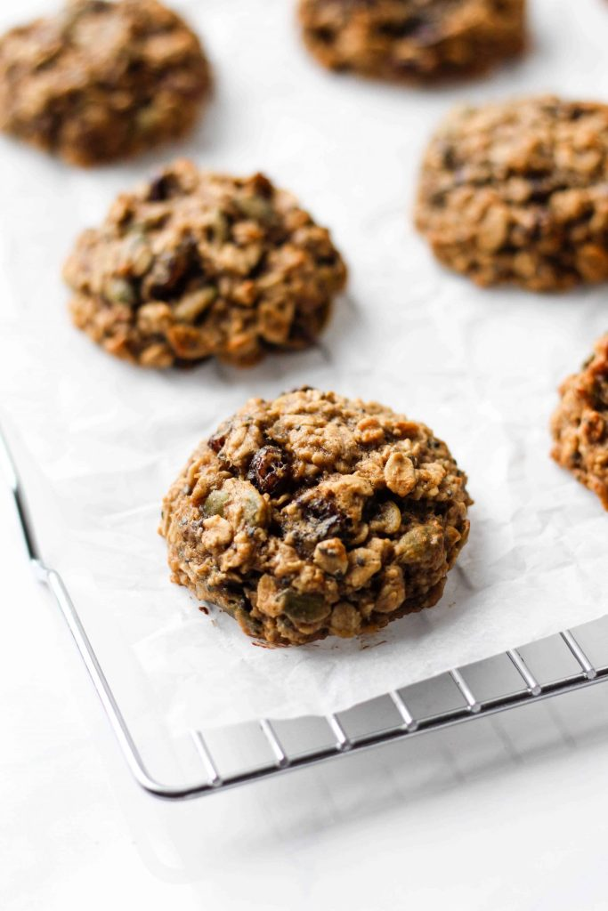 These chewy and healthy breakfast cookies are naturally gluten-free, vegan and low in added sugar! It's a one-bowl recipe and all you need is 30 minutes to make them. Prep these easy Banana Breakfast Cookies for a healthy breakfast all week!