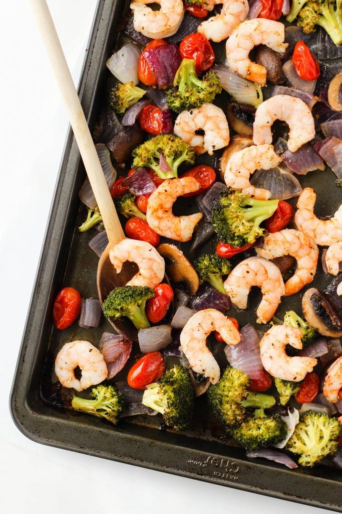 Sheet Pan Shrimp and Vegetables is a quick, easy and healthy dinner recipe for those busy weeknights. Serve it with rice, pasta or enjoy on its own!