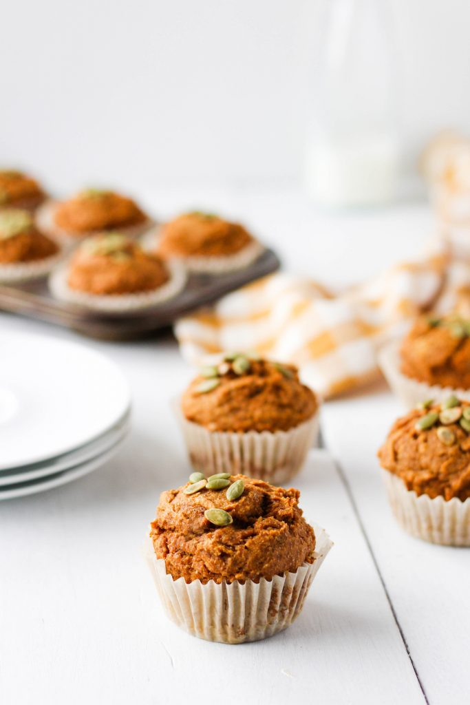 These vegan whole wheat pumpkin muffins make the best healthy snack for fall. I love pairing mine with a smear of almond butter and a warm coffee or tea.