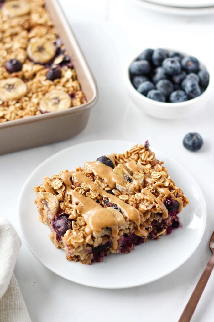 This hearty yet healthy vegan baked oatmeal is tasty, easy to make and perfect for meal prep. And you can customize it with whatever fruit and nuts you have on hand!