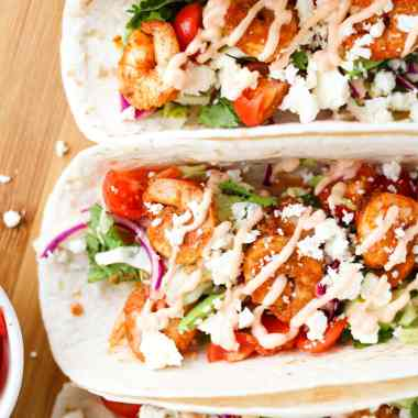 While simple to make, these Spicy Shrimp Tacos with cilantro lime slaw and sriracha mayo are bursting with flavour and nutrition. Ready in 30 minutes or less!