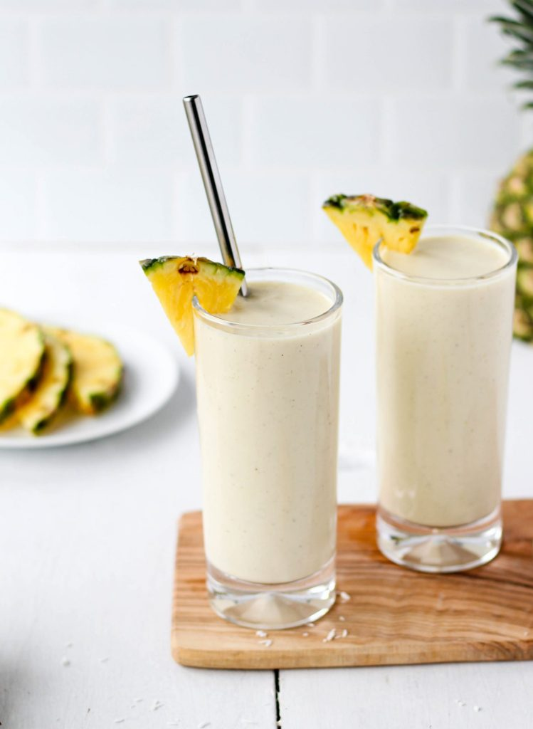Delicious, nutritious, and refreshing Pina Colada Smoothie recipe! Gluten free with vegan option available.