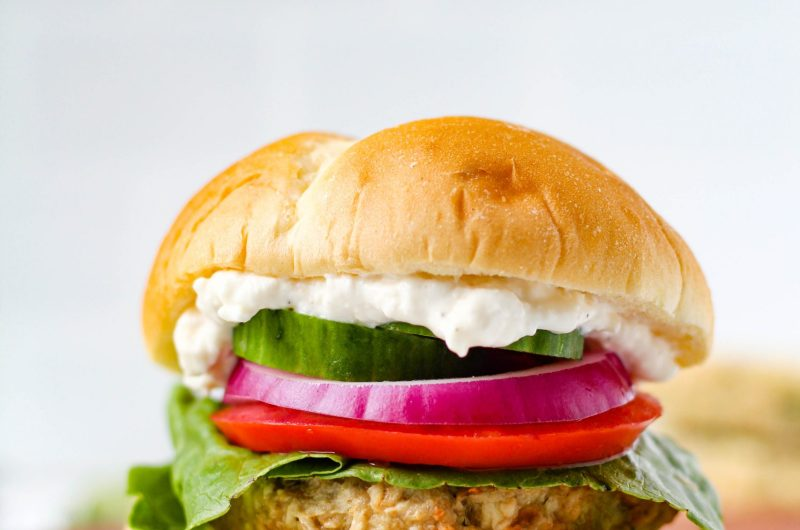 Juicy and flavourful Greek-inspired Chicken burgers that are simple to make. Topped with a quick, delicious, and super creamy Feta Aioli sauce.