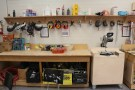 Power tools and safety gear in the wood shop at Langara