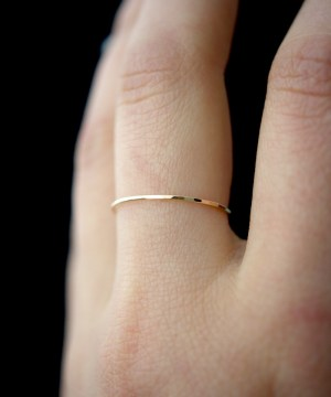 ultra thin ring in gold fill hammered finish