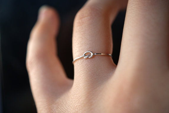 14ct Gold plated 925 Sterling Silver One Size Ring Open Knot Ring