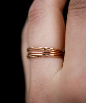 smooth rose gold set of 5 rings