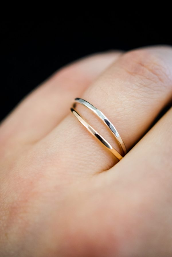 Gold and Silver Hammered and Smooth Interlocking Rings-3