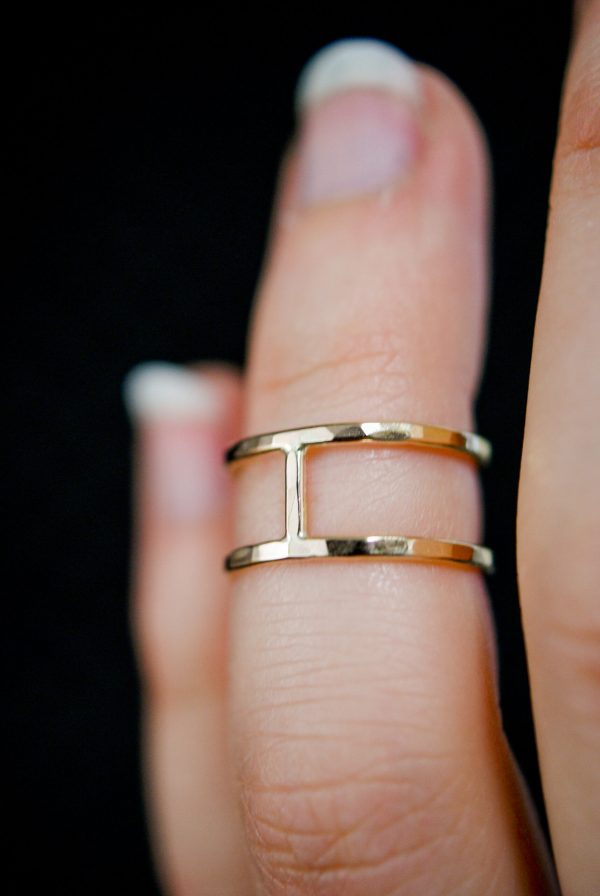 thick hammered gold cage ring small