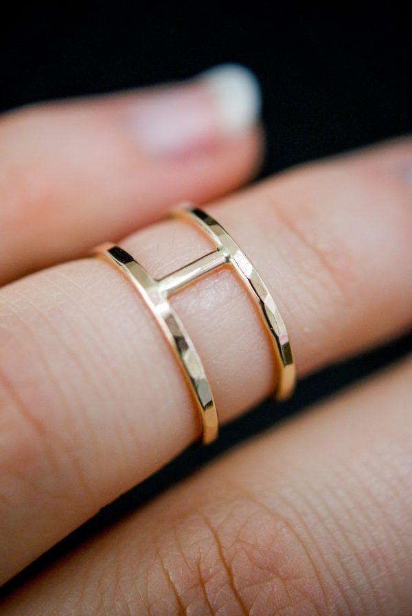 thick gold hammered small cage ring