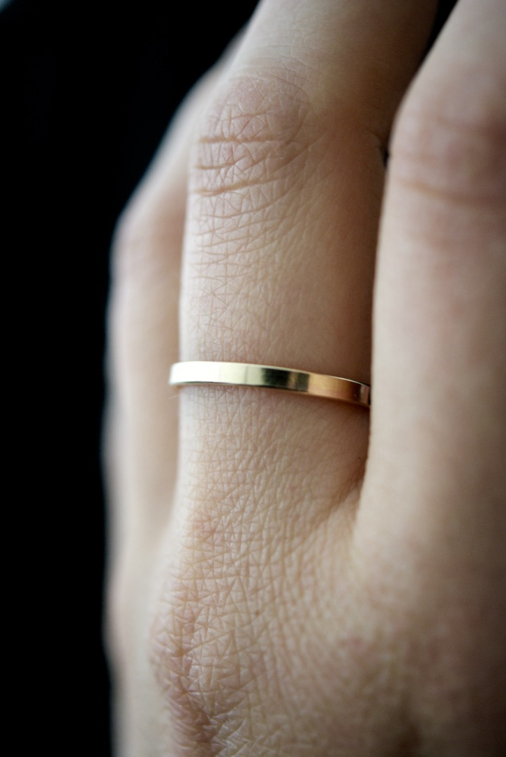 14K Gold Filled Twisted Ring Thick Hammered Stacking Ring