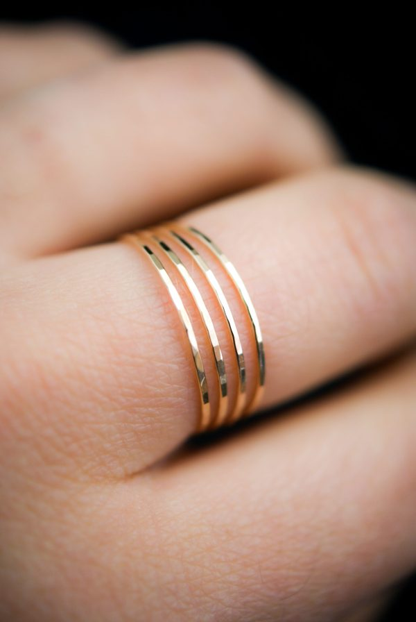gold hammered ring set of 4 ultra thin