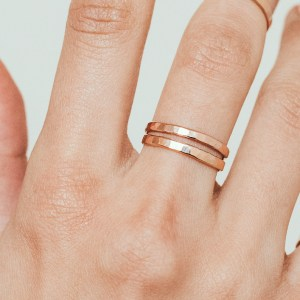 extra thick rings - Set of 2 Hammered Gold