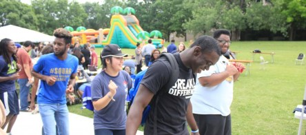 Students dance to the Cupid Shuffle at Ram Jam in front of Dora Roberts Dining Hall. Photo by Hannah Onder
