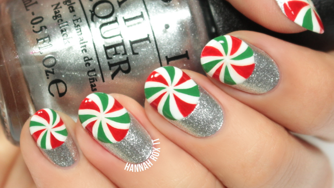 Tutorial: Christmas Peppermint Nail Art  Hannah Rox It