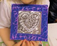 3. Foil heart is attached to complete the artwork