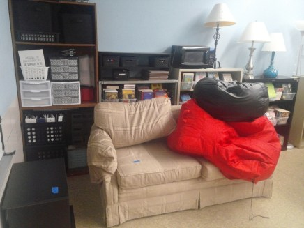 couch and bean bags