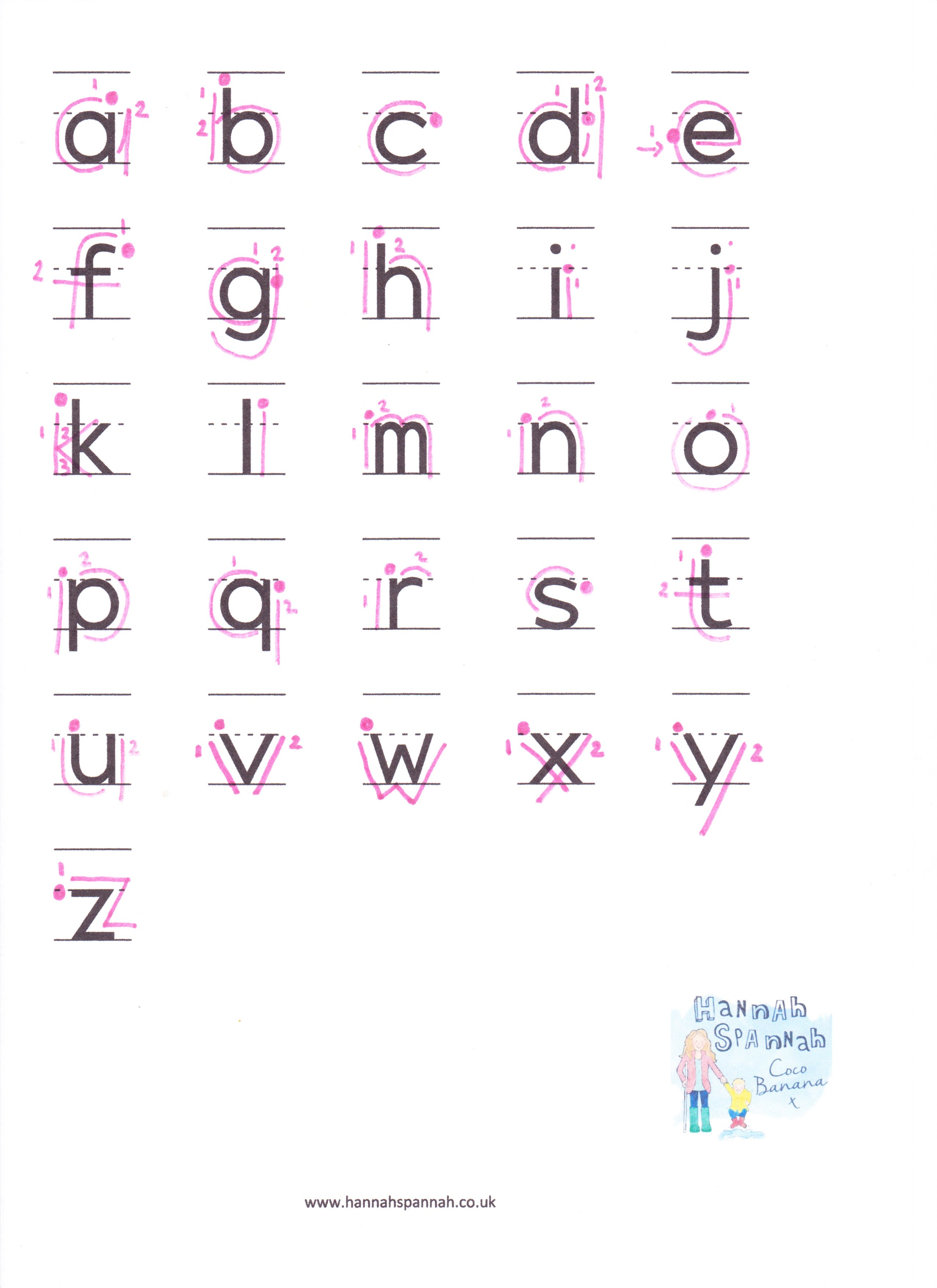 Alphabet Writing Sheet Lowercase