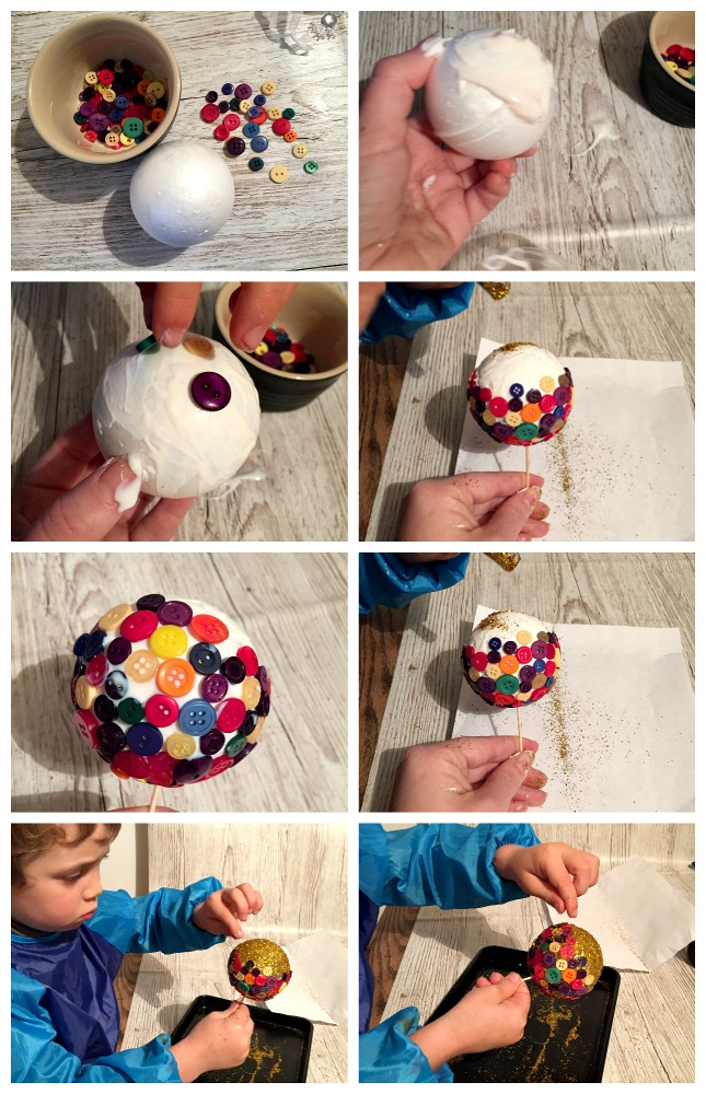 kids christmas crafts button bauble