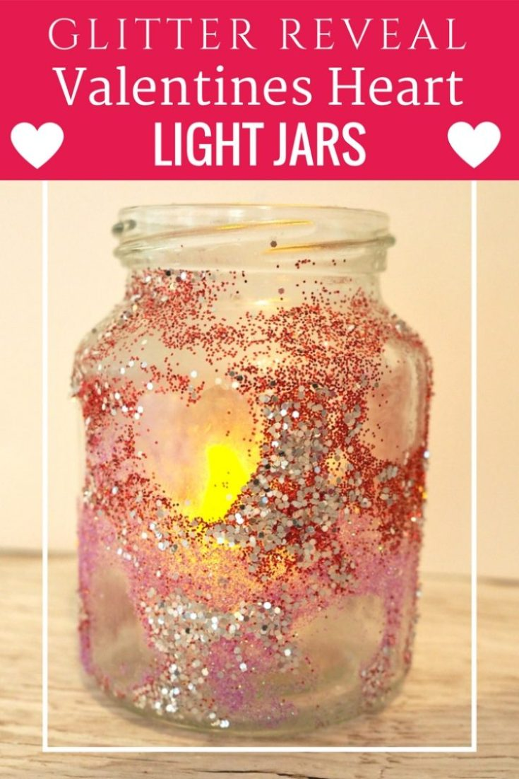 How to make Beautiful Glitter Reveal Valentines Heart Light Jars