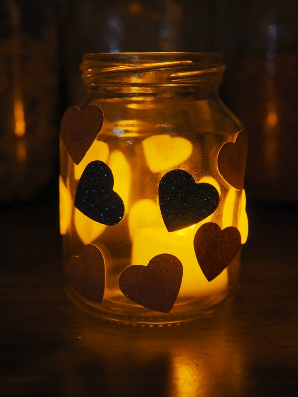 How to make beautiful, mess free, glue free, Valentines Heart Jars