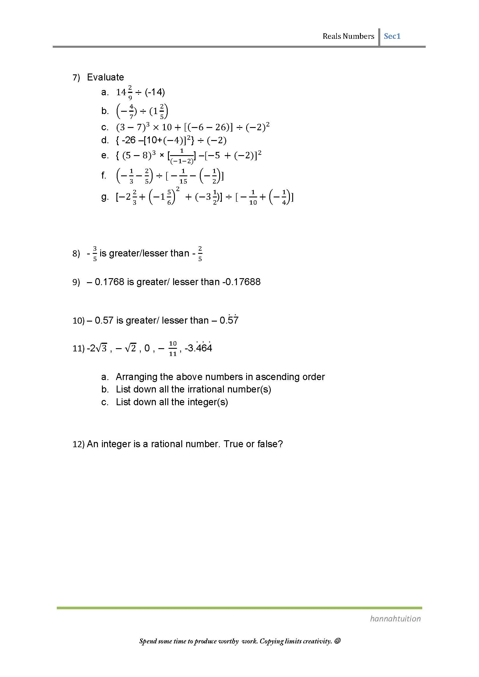Sec 1 Maths Real Numbers Practice