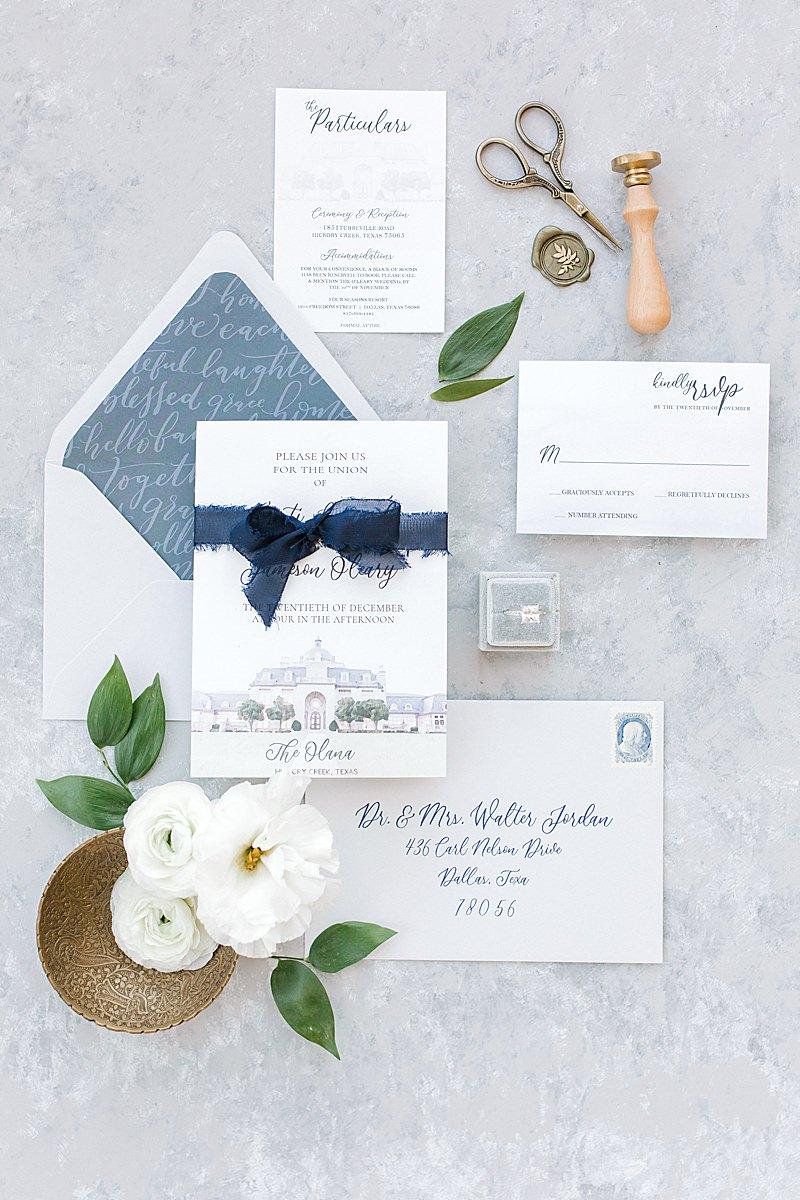 Hannah Way Photography, luxury wedding, luxury wedding photographer, dfw wedding photographer, The Olana, layflat, stationary, wedding stationary, blue wedding stationary