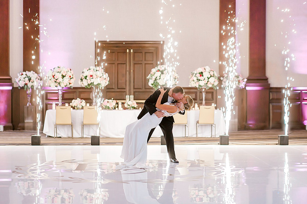 Hannah Way Photography, luxury weddings, luxury wedding photographer, dfw wedding photographer, Dallas wedding photographer, reception, wedding reception, The Worthington renaissance hotel, first dance, cold sparklers, inside sparklers, sparkler first dance