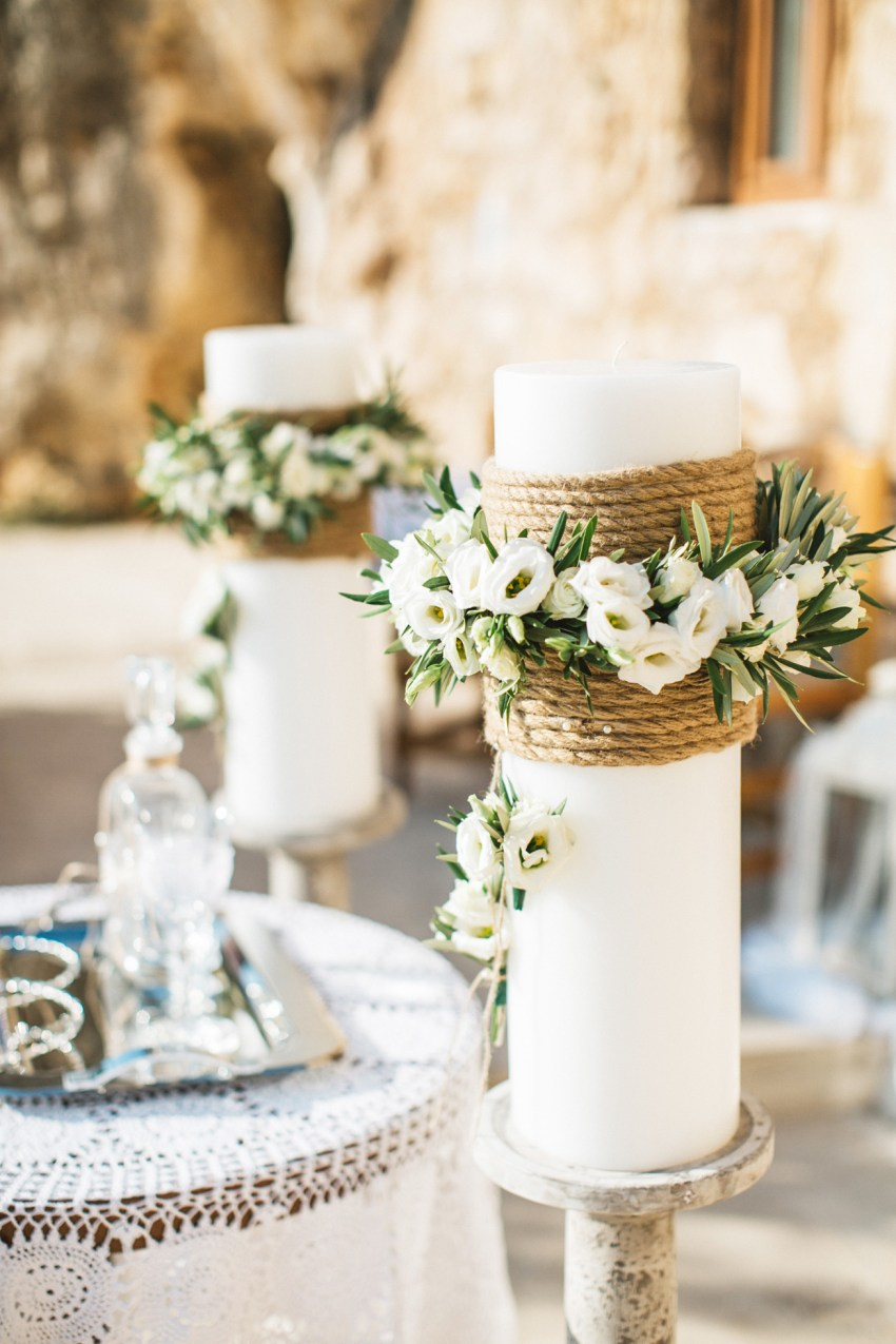 Elegant vintage destination wedding decorations in Rethymno, Crete, Greece.