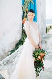 Beautiful modern bride at her wedding in Mykonos island, Greece.