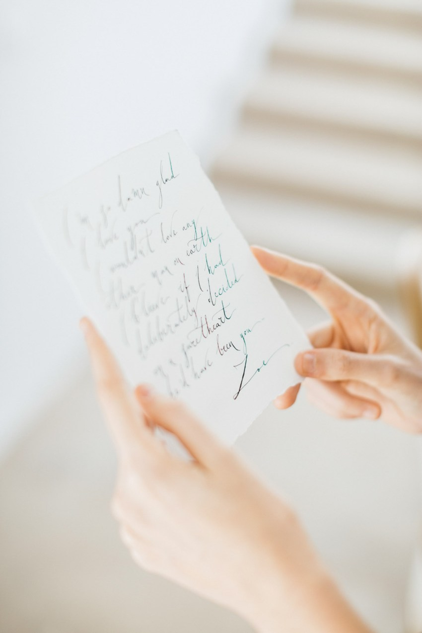 Calligraphy of an engagement love note.