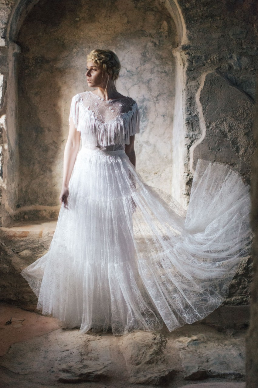 Bride wearing wedding dress and styled for romantic wedding in Crete